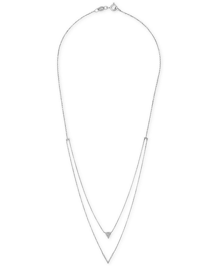 """Wrapped - Diamond Double-Strand """"V"""" 20"""" Pendant Necklace (1/5 ct. t.w.) in 14k White Gold"""