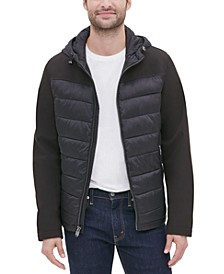Men's Mixed Media Hooded Puffer Jacket