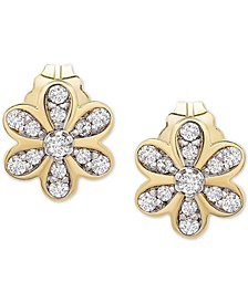 Diamond Flower Stud Earrings (1/10 ct. t.w.) in 14k Gold, Created for Macy's