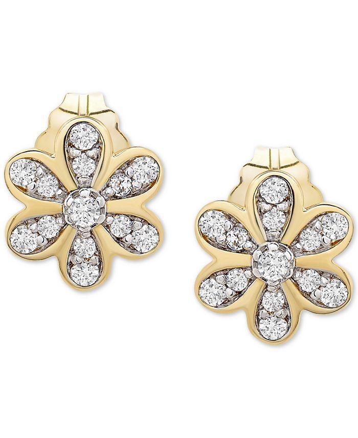 Wrapped - Diamond Flower Stud Earrings (1/10 ct. t.w.) in 14k Gold