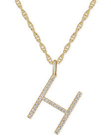 """Diamond Initial 18"""" Pendant Necklace (1/6-1/3 ct. t.w.) in 14k Gold"""