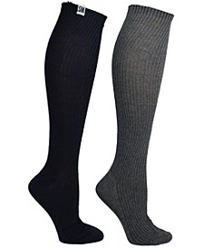 Womens 2 Pack Ribbed Knee High Sock, Online Only