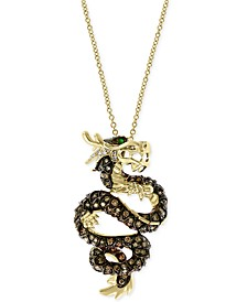 "EFFY® Diamond (1 ct. t.w.) & Emerald Accent Dragon 18"" Pendant Necklace in 14k Gold"
