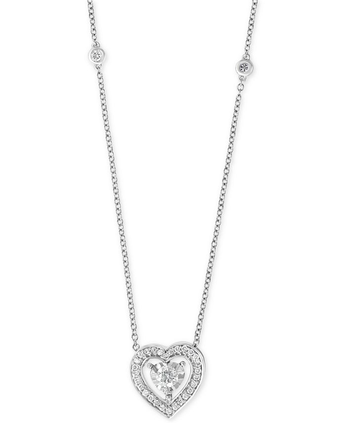 """EFFY Collection - Diamond Heart 18"""" Pendant Necklace (3/8 ct. t.w.) in 14k White Gold"""