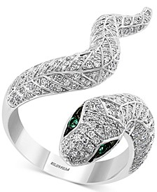 EFFY® Diamond (3/4 ct. t.w.) & Emerald (1/20 ct. t.w.) Snake Ring in 14k White Gold