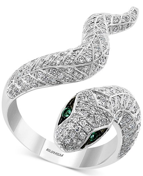 EFFY Collection EFFY® Diamond (3/4 ct. t.w.) & Emerald (1/20 ct. t.w.) Snake Ring in 14k White Gold
