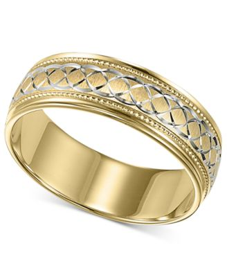 Mens 10k Gold And White Ring Engraved Wedding Band