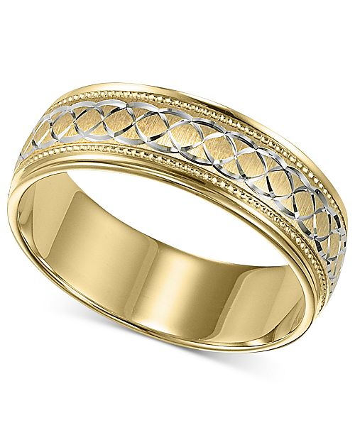 Macy S Men S 10k Gold And 10k White Gold Ring Engraved Wedding Band