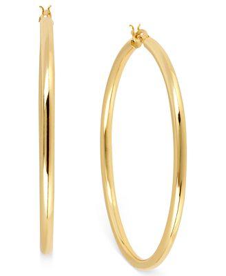 Hint of Gold 14k Gold Plated Brass Earrings 50mm Hoop Earrings