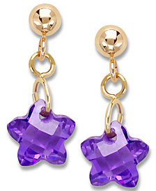 Children's 14k Gold Earrings, Purple Cubic Zirconia Star Earrings (6mm)