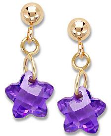 Children's 14k Gold Earrings, Purple Cubic Zirconia Star Earrings (6mm)
