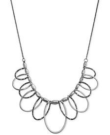 "Silver-Tone Pavé Loop Statement Necklace, 18"" + 2"" extender"