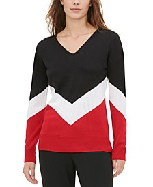 Chevron-Stripe Colorblocked Sweater
