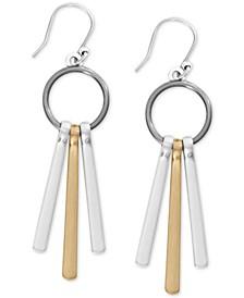 Two-Tone Dangling Bar Drop Earrings
