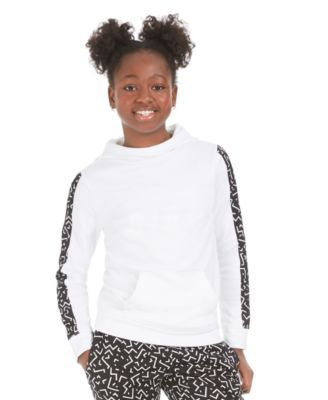 Big Girls Fleece Tape-Trim Hoodie, Created For Macy's