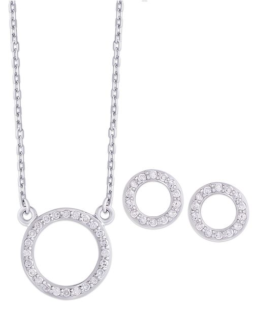 Macy's Diamond 1/4 ct. t.w. Circle Pendant Necklace and Stud Earrings set in Sterling Silver