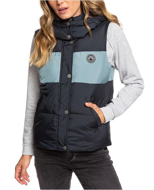 Roxy Juniors' Out Of Focus Colorblocked Puffer Vest