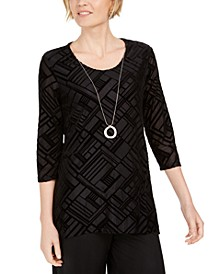 Petite Velvet Necklace Top, Created For Macy's