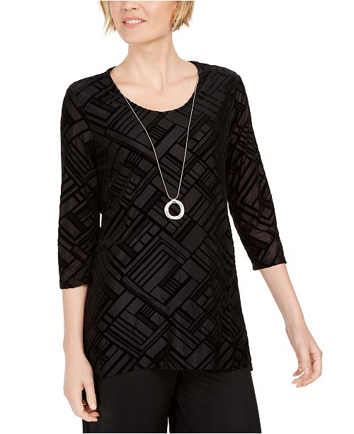 JM Collection Petite Velvet Necklace Top, Created For Macy's
