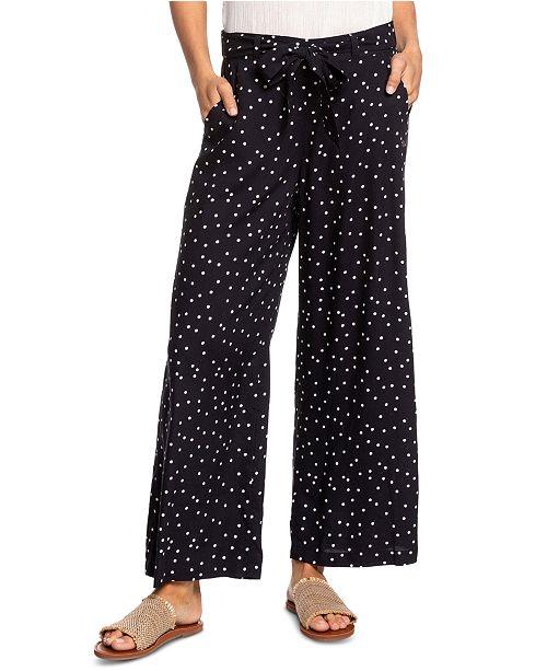 Roxy Juniors' Belted Dot-Print Pants