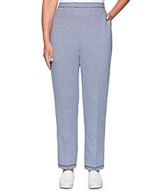 Petite Road Trip Textured Striped Pull-On Pants