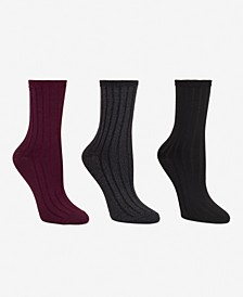Women's 3-Pk. Super Soft Wide Rib Crew Socks