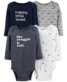 Baby Boys 4-Pk. Cotton Long-Sleeve Bodysuits