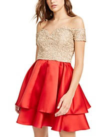Juniors' Off-The-Shoulder Embroidered & Satin Dress