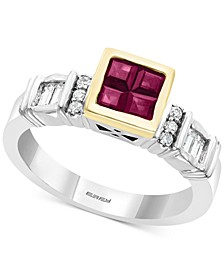 EFFY® Certified Ruby (3/4 ct. t.w.) & Diamond (1/4 ct. t.w.) Ring in 14k Gold & White Gold