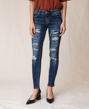 Mid Rise Super Skinny Distress Patch Jeans