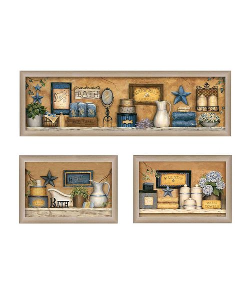 """Trendy Decor 4U Trendy Decor 4U Bathroom Collection III Collection By Carrie Knoff, Printed Wall Art, Ready to hang, Beige Frame, 33"""" x 11"""""""