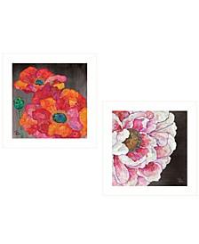 "Blooms on Black 2-Piece Vignette by Lisa Morales, White Frame, 15"" x 15"""