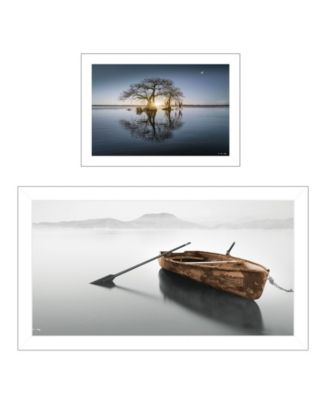 """Tree Reflections 2-Piece Vignette by Moises Levy, White Frame, 39"""" x 21"""""""