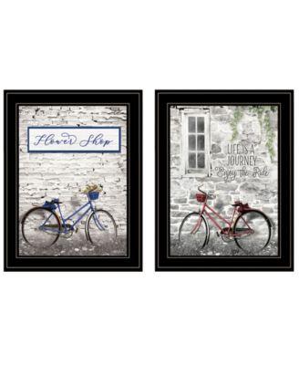 "Romantic Bicycles 2-Piece Vignette by Lori Deiter, Black Frame, 15"" x 19"""