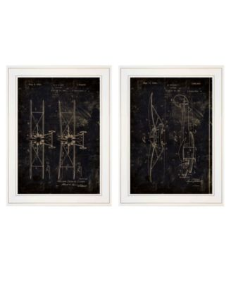 """Airplane Patent I II 2-Piece Vignette by Cloverfield Co, White Frame, 15"""" x 19"""""""