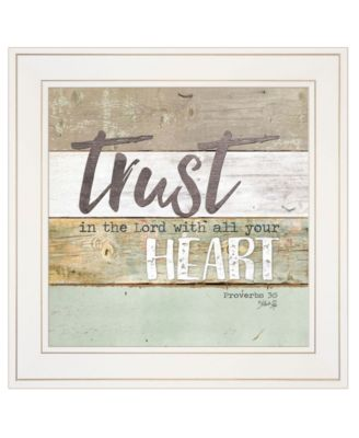 """Trust in the Lord by Marla Rae, Ready to hang Framed print, White Frame, 15"""" x 15"""""""