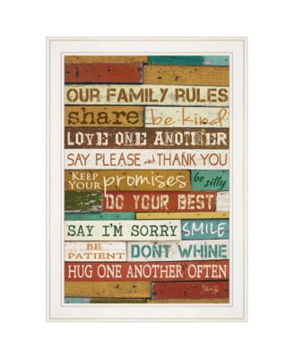 """Our Family Rules by Marla Rae, Ready to hang Framed print, White Frame, 15"""" x 21"""""""