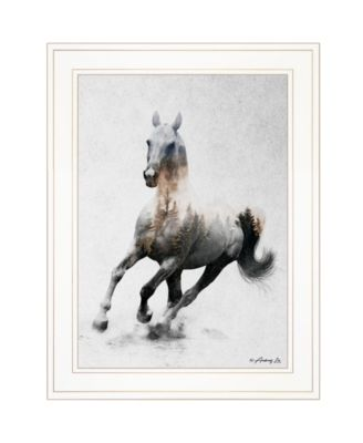 """Galloping Stallion by andreas Lie, Ready to hang Framed Print, White Frame, 19"""" x 15"""""""