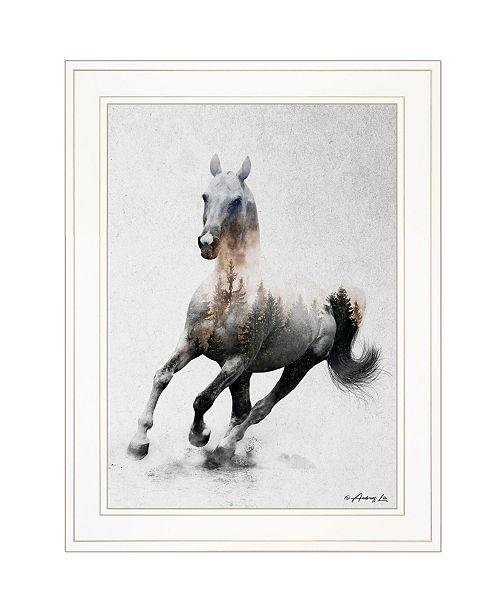 "Trendy Decor 4U Trendy Decor 4U Galloping Stallion by andreas Lie, Ready to hang Framed Print, White Frame, 19"" x 15"""