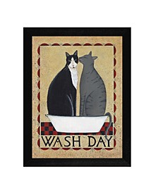 """Wash Day By Dotty Chase, Printed Wall Art, Ready to hang, Black Frame, 16"""" x 13"""""""