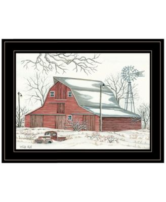 """Winter Barn with Pickup Truck by Cindy Jacobs, Ready to hang Framed Print, Black Frame, 19"""" x 15"""""""
