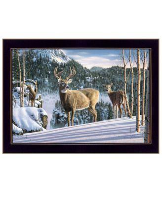 "Morning View Deer by Kim Norlien, Ready to hang Framed Print, Black Frame, 20"" x 14"""