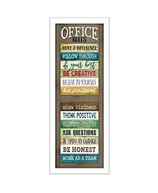 """Office Rules by Marla Rae, Ready to hang Framed Print, White Frame, 8"""" x 20"""""""