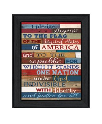 """Pledge of Allegiance By Marla Rae, Printed Wall Art, Ready to hang, Black Frame, 10"""" x 14"""""""