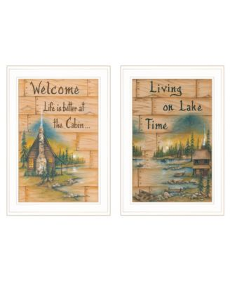 """Living on the Lake 2-Piece Vignette by Mary June, White Frame, 15"""" x 21"""""""
