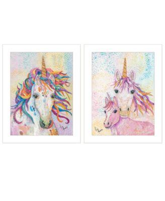 "Unicorns 2-Piece Vignette by Lisa Morales, White Frame, 15"" x 19"""