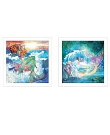"Mermaid's 2-Piece Vignette by Bluebird Barn, White Frame, 15"" x 15"""