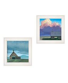 "Trendy Decor 4U Two Barnscapes 2-Piece Vignette by Tim Gagnon, White Frame, 15"" x 15"""