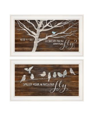 """Spread Your Wings 2-Piece Vignette by Marla Rae, White Frame, 27"""" x 15"""""""