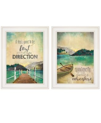 """Right Direction / Adventure 2-Piece Vignette by Marla Rae, White Frame, 15"""" x 19"""""""